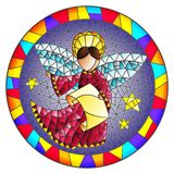 Stained glass illustration  with an abstract angel in pink robe  , round picture frame in bright. Illustration in stained glass style with an abstract angel in Royalty Free Stock Images