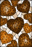 Stained glass illustration , abstract background with hearts ,tone brown,Sepia. Illustration in stained glass style, abstract background with hearts ,tone brown Stock Illustration