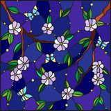 Stained glass illustration with abstract blossoms tree  and moths on a starry sky background Royalty Free Stock Photos