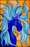 Stained glass illustration with abstract blue face of his horse. Illustration in stained glass style with abstract blue face of his horse with developing mane Stock Photo