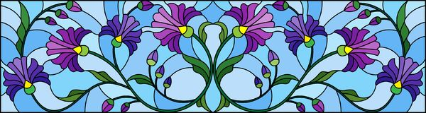 Stained glass illustration with abstract blue flowers on a blue background,horizontal orientation. Illustration in stained glass style with abstract blue flowers royalty free illustration