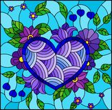 Stained glass illustration with abstract blue heart and flowers on blue background. Illustration in stained glass style with abstract blue heart and flowers on royalty free illustration