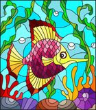 Stained glass illustration  with abstract colorful exotic fish amid seaweed, coral and shells. Illustration in stained glass style with abstract colorful exotic Royalty Free Stock Photo