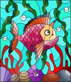 Stained glass illustration  with abstract colorful exotic fish amid seaweed, coral and shells. Illustration in stained glass style with abstract colorful exotic Royalty Free Stock Images