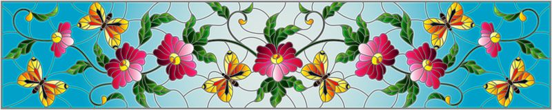 Stained glass illustration with abstract curly pink flower and a purple butterfly on blue background , horizontal image. Illustration in stained glass style with vector illustration