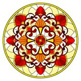 Stained glass illustration with abstract flowers, leaves and swirls, circular image on white background Stock Photo
