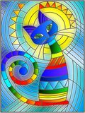Stained glass illustration  with abstract geometric cat Stock Photo