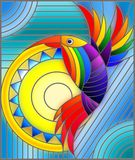 Stained glass illustration with abstract geometric rainbow bird Stock Photography