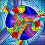 Stained glass illustration  with abstract geometric rainbow fish on blue background. Illustration in stained glass style with abstract geometric rainbow fish on Stock Photography