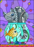 Stained glass illustration  with abstract grey cat and goldfish in the aquarium. Illustration in stained glass style with abstract grey cat and goldfish in the Stock Images