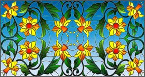 Stained glass illustration  with abstract orange flowers on a blue background Royalty Free Stock Images
