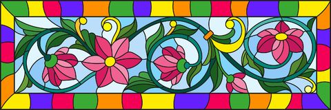 Stained glass illustration  with abstract pink flowers on a blue  background in bright frame Royalty Free Stock Photo