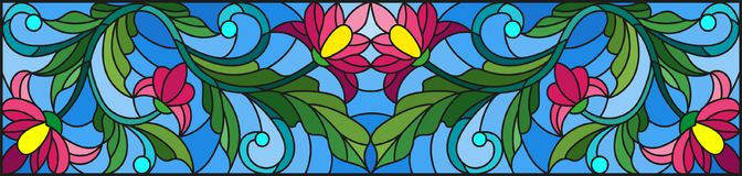 Stained glass illustration with abstract pink flowers on a blue background Stock Photos