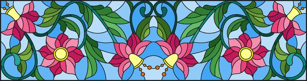 Stained glass illustration with abstract pink flowers on a blue background. Illustration in stained glass style with abstract pink flowers on a blue background Stock Photography