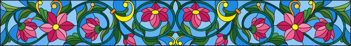 Stained glass illustration with abstract pink flowers on a blue background. Illustration in stained glass style with abstract pink flowers on a blue background Stock Photo