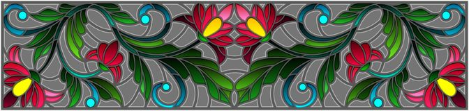 Stained glass illustration  with abstract pink flowers on a grey background Royalty Free Stock Image