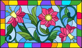 Stained glass illustration with abstract pink flowers on a yellow background in bright frame Stock Image