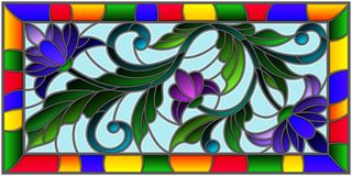 Stained glass illustration  with abstract purple flowers on a blue background in bright frame Stock Photos