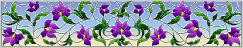 Stained glass illustration with abstract purple flowers on a sky background,horizontal orientation. Illustration in stained glass style with abstract purple vector illustration