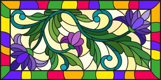 Stained glass illustration  with abstract purple flowers on a yellow background  Royalty Free Stock Image