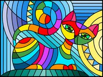 Stained glass illustration  with abstract rainbow geometric cat Stock Images