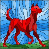 Stained glass illustration abstract in red dog on a background of meadows and sky. Illustration in stained glass style abstract in red dog on a background of royalty free illustration