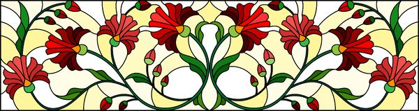 Stained glass illustration with abstract red flowers on a yellow background,horizontal orientation. Illustration in stained glass style with abstract red flowers royalty free illustration