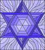 Stained glass illustration with an abstract six-pointed blue star on a blue background. Illustration in stained glass style with an abstract six-pointed blue Stock Photos