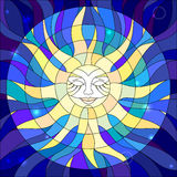 Illustration in stained glass style with abstract star Royalty Free Stock Photography