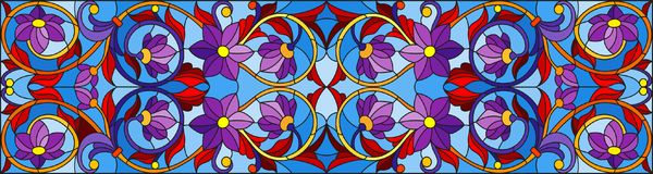 Stained glass illustration with abstract  swirls,flowers and leaves  on a blue background,horizontal orientation Royalty Free Stock Image