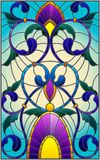 Stained glass illustration with abstract swirls,flowers and leaves on a blue background. Illustration in stained glass style with abstract swirls,flowers and stock illustration