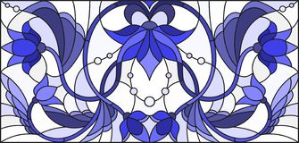 Stained glass illustration with abstract swirls,flowers and leaves on a light background,horizontal orientation gamma blue. Illustration in stained glass style vector illustration