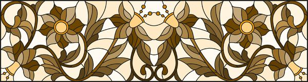 Stained glass illustration with abstract  swirls ,flowers and leaves  on a light background,horizontal orientation, sepia Royalty Free Stock Photography