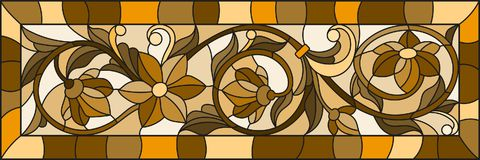Stained glass illustration with abstract  swirls ,flowers and leaves  on a light background,horizontal orientation, sepia Royalty Free Stock Image