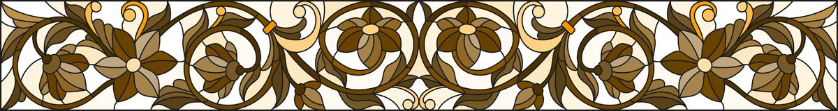 Stained glass illustration with abstract  swirls ,flowers and leaves  on a light background,horizontal orientation, sepia Royalty Free Stock Photo