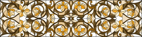 Stained glass illustration  with abstract  swirls ,flowers and leaves  on a light background,horizontal orientation, sepia Stock Images