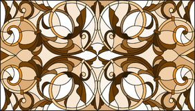 Stained glass illustration with abstract swirls ,flowers and leaves on a light background,horizontal orientation, sepia. Illustration in stained glass style with Vector Illustration
