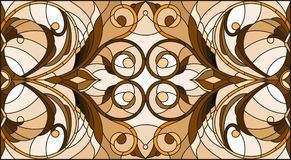 Stained glass illustration with abstract swirls ,flowers and leaves on a light background,horizontal orientation, sepia. Illustration in stained glass style with Stock Illustration