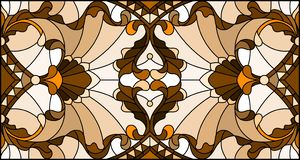 Stained glass illustration with abstract swirls, flowers and leaves on a light background,horizontal orientation, sepia. Illustration in stained glass style with stock illustration