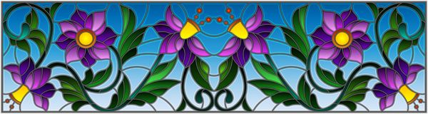 Stained glass illustration with abstract swirls,purple flowers and leaves on a sky background,horizontal orientation. Illustration in stained glass style with vector illustration
