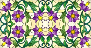 Stained glass illustration  with abstract  swirls,purple flowers and leaves  on a yellow  background,horizontal orientation. Illustration in stained glass style Royalty Free Stock Photo