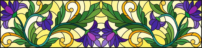 Stained glass illustration with abstract  swirls,purple flowers and leaves  on a yellow  background,horizontal orientation. Illustration in stained glass style Royalty Free Stock Photography