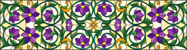 Stained glass illustration with abstract  swirls,purple flowers and leaves  on a yellow  background,horizontal orientation. Illustration in stained glass style Stock Image