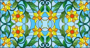 Stained glass illustration  with abstract  swirls,yellow flowers and leaves  on a blue background,horizontal orientation Stock Photos