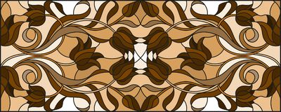 Stained glass illustration with abstract tulip flowers,swirls and leaves on a light background,horizontal orientation, sepia. Illustration in stained glass style royalty free illustration