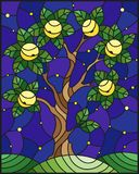 Stained glass illustration with an apple tree standing. Illustration in stained glass style with an apple tree standing alone on a hill against the starry sky stock illustration