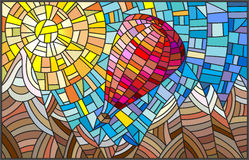 Illustration in stained glass style with a balloon on a background of mountains and sun Stock Image