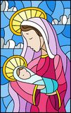Stained glass illustration on biblical theme, Jesus baby with Mary , abstract figures on sky background with clouds, rectangular i. Illustration in stained glass stock illustration