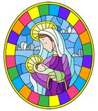Stained glass illustration on biblical theme, Jesus baby with Mary , abstract figures on sky background with clouds, round image i. Illustration in stained glass royalty free illustration