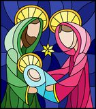 Stained glass illustration on biblical theme, Jesus baby with Mary and Joseph, abstract figures on blue background, rectangular im. Illustration in stained glass royalty free illustration